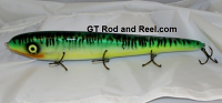 """Smuttly Dog Baits Lures 15"""" Big """"H""""  Musky Glide Bait  Color: Glowing Green Tiger"""