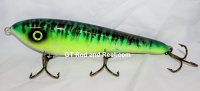 "Smuttly Dog Baits Lures 8"" Drop Belly 8DB Musky Glide Bait  Color: Glowing Green Tiger"