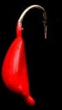 #835 5 each, Tungsten Ice Fishing Leech Jig 0.6 Gram #14 Hook, 4mm, Fireball