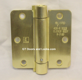 "Hager Hinges 1751 1/4"" Radius  3.5"" x 3.5"" r7189 426r Self Closing Hinge US4 Satin Brass"