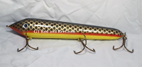 "Muskie Safari Mr. Automatic 10"" Count-Down Glide Bait Yellow Belly Red Horse"
