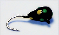 #102, 4 each Tungsten Ice Fishing Tear Drop Jig, 0.5 Gram, #16, Hook, 3.0mm, Glowing Black Bug