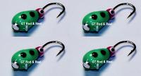 #509, 4 each Tungsten Ice Fishing Tear Drop Jig, 1.1 Gram, #14, Hook, 4.0mm, Glass Eye, Green Lady Bug