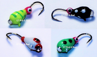 #514, 4 Tungsten Ice Fishing Tear Drop Jigs, 1.1 Gram, #14, Hook, 4.0mm, Glass Eye, Black Lady Bug-Red Headed Clown-Green Lady Bug-Green Tiger