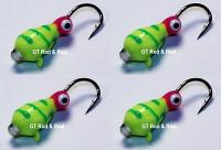#511, 4 each Tungsten Ice Fishing Tear Drop Jig, 1.1 Gram, #14, Hook, 4.0mm, Glass Eye, Green Tiger