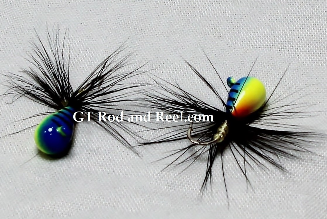#906-f 4 each Tungsten Ice Fishing Tear Drop Jig 1.85 Gram #12 Hook w/Feather Glowing Blue Tiger