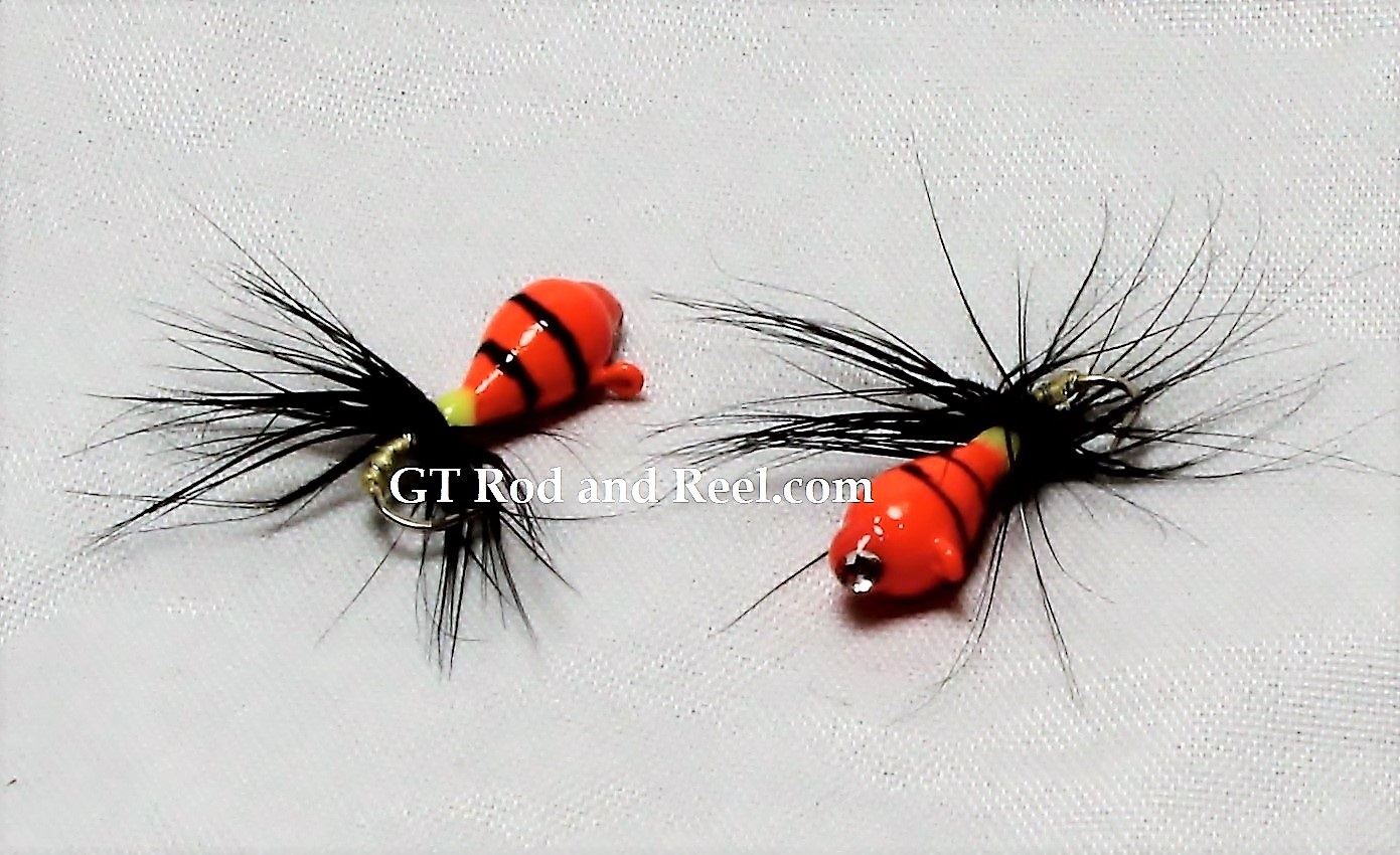 #903-fg 4 each Tungsten Ice Fishing Tear Drop Jig 1.85 Gram #12 Hook w/Feather & Glass Eye Glowing Orange Tiger