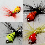 #900-903-fg 4 Tungsten Ice Fishing Tear Drop Jigs 1.85 Gram #12 Hook w/Feather & Glass Eye-Glowing Lady Bug-Yellow Lady Bug-Orange Tiger-Yellow Tiger
