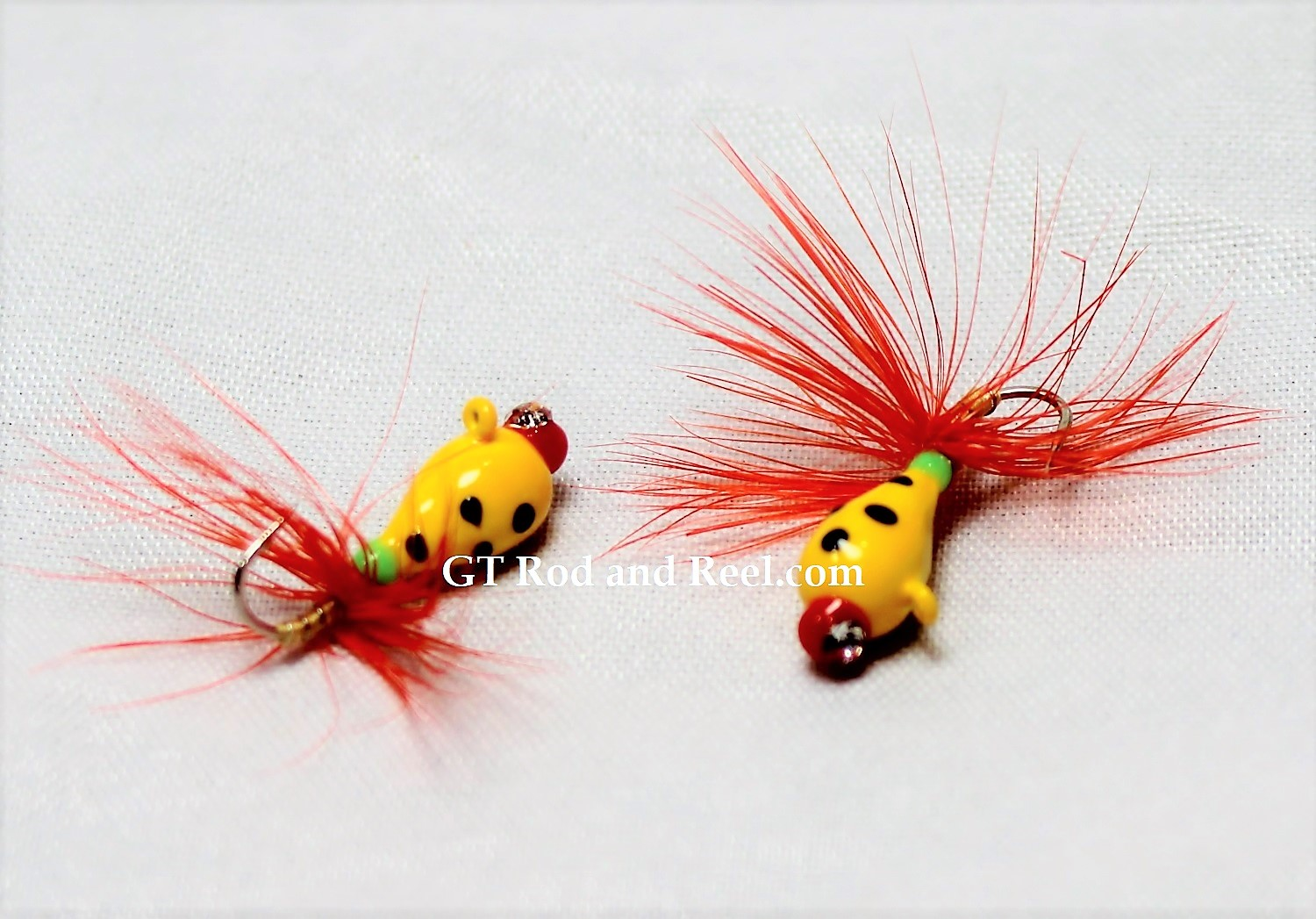 #902-fg 4 each Tungsten Ice Fishing Tear Drop Jig 1.85 Gram #12 Hook w/Feather & Glass Eye Glowing Yellow Lady Bug