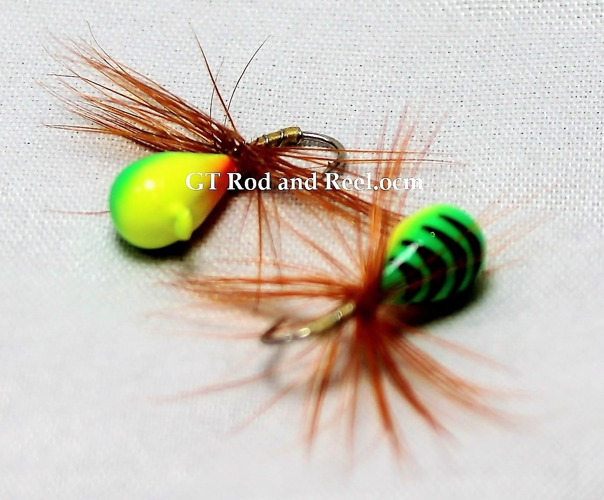 #905-f 4 each Tungsten Ice Fishing Tear Drop Jig 1.85 Gram #12 Hook w/Feather Glowing Tiger