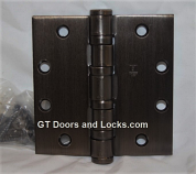 "Hager Hinge BB1168 Full Mortise Hinge 4 1/2"" x 4 1/2"" US10d Dark Oil Rubbed Bronze with Non Removable Pin"