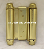 Hager 1303 4in Double Acting Spring Cafe Hinge-Steel Base US4 Satin Brass