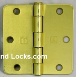 "Hager Hinges RC1741 3.5"" x 3.5"" US4 Satin Brass 1/4"" Radius Hinge"