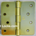 "Hager Hinges 4"" x 4"" RC1741 1/4"" Radius US4 Satin Brass"