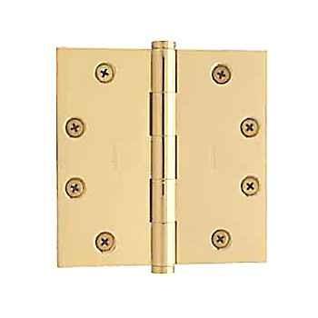 "Baldwin Hinges 1045 Square Corner 4.5"" x4.5"" Polished Brass"