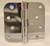 "Hager Rc1842 Hinge 4"" x 4"" Bright Chrome 5/8"" Radius Corner"