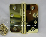 "Hager RC1279 Hinge 1 Each 4"" x 4"" 1/4"" Radius Hinges US3 Bright Brass"