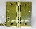 "Hager Hinge BB1191 NRP Full Mortise Ball Bearing Hinge 4 1/2"" x 4 1/2"" Non Removable Pin US4 Satin Brass"