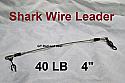 """40 LB EZ Clip Shark Wire Leader 7x7 49 Strand Nylon Coated Wire-4"""""""