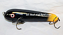 """Jack Cobb Countdown 6"""" Rattling Round Nose Musky Bait Lure """"THE ORIGINAL ROUND NOSE LURE""""  Color Sparkling Black Hot Tail"""